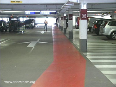 Bike path through parking garage