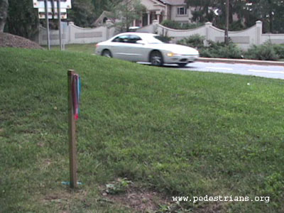 Property marker far from curb
