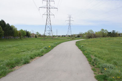 Trail along high tension lines in Burlington, Ontario.